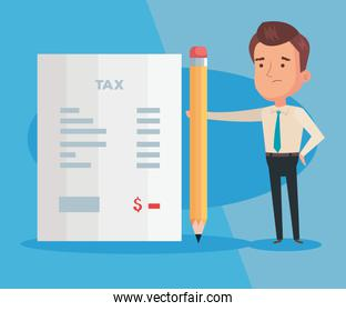 tax day poster with businessman and icons
