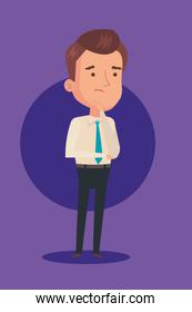 businessman thinking in purple background