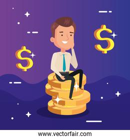 businessman elegant sitting in pile coins