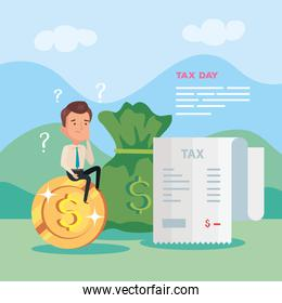tax day poster with businessman in landscape with icons