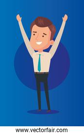 businessman with hands up in blue background