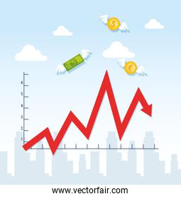 stock market crash with infographic and icons