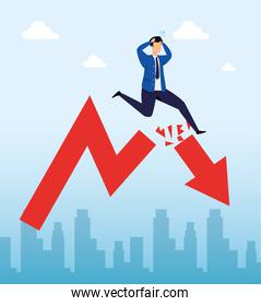 stock market crash with businessman and arrow down