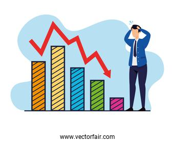 stock market crash with businessman and infographics