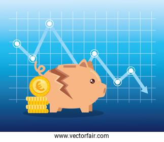 stock market crash with piggy bank and icons