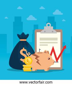 stock market crash with piggy bank and business designs