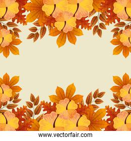 frame of flowers with branches and autumn leafs naturals