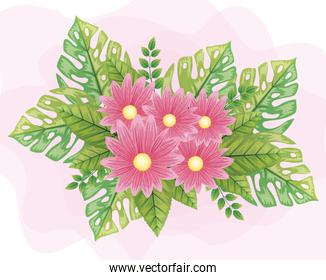 cute flowers pink color with leafs naturals