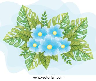 cute flowers blue color with leafs naturals