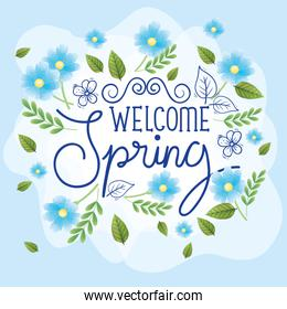 welcome spring with frame of flowers and leafs