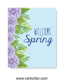 welcome spring with flowers and leafs decoration