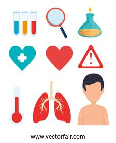 set of covid 19 pandemic icons