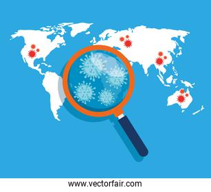 world map with covid 19 disease location and magnifying glass