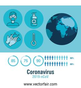 covid 19 infographic with world planet and icons
