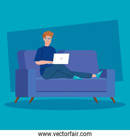 man working in telecommuting with laptop in couch