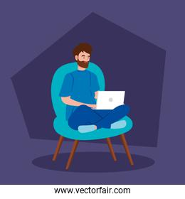 man working in telecommuting with laptop sitting in chair