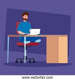 man working telecommuting with laptop in desk