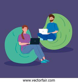 couple working in telecommuting with laptop sitting in sofa