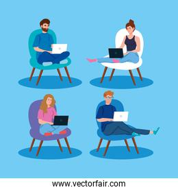 people working in telecommuting with laptop sitting in chairs