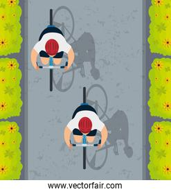 view aerial of group cyclists in championship