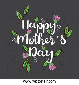 happy mother day card with cute flowers and leafs decoration