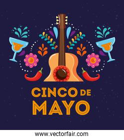 cinco de mayo poster with guitar and decoration