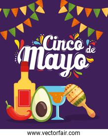 cinco de mayo poster with cocktail and icons decoration