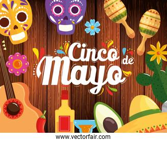 cinco de mayo poster with frame of icons decoration