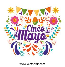 cinco de mayo poster with garlands hanging decoration