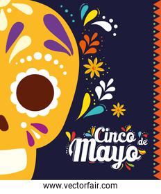 cinco de mayo poster with skull and decoration