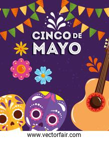 cinco de mayo poster with skulls and guitar