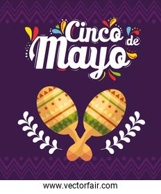 cinco de mayo poster with maracas and decoration