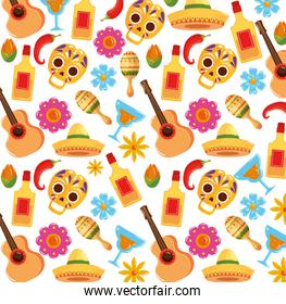 background of traditional icons of cinco de mayo