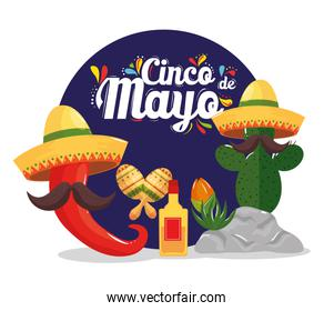 cinco de mayo poster with cactus and icons decoration