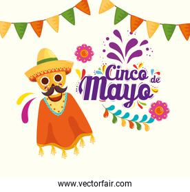 cinco de mayo poster with skull and icons decoration