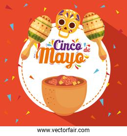 cinco de mayo poster with traditional food and decoration