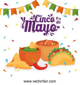 cinco de mayo banner with traditional food and decoration