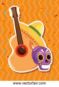 guitar and icons traditional of cinco de mayo