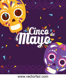 cinco de mayo poster with skulls decoration
