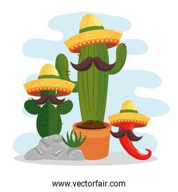 cactus and icons traditional of cinco de mayo