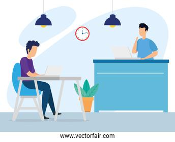 scene of coworking with men in workplace