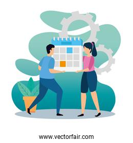 scene of coworking with couple in workplace