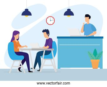 scene of coworking with people in workplace
