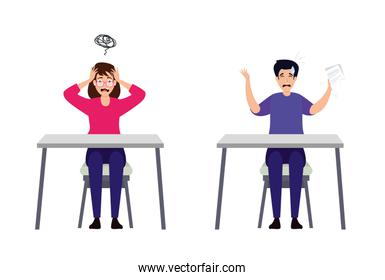 couple with stress attack in desks