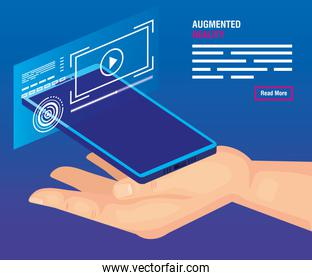 hand with smartphone of reality augmented