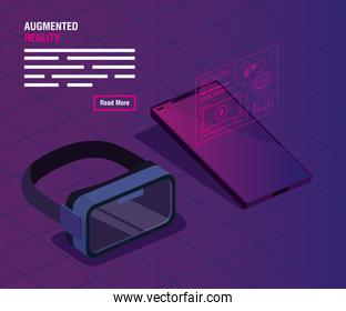 glasses and smartphone of reality augmented