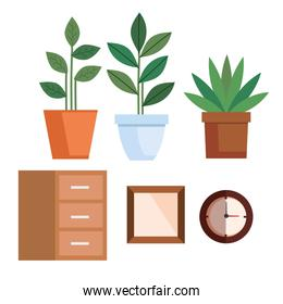 pot plants with wooden shelving and clock time
