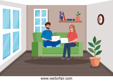 couple working in telecommuting in living room