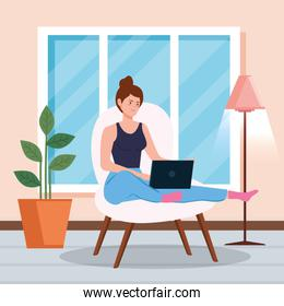 woman working in telecommuting inside home