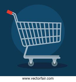 cart shopping transportation in blue background
